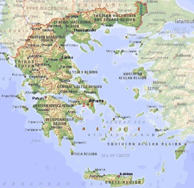 "<h3><font face=""Comic Sans MS"" color=""#0000ff"">Map of Greece.</font></h3>"